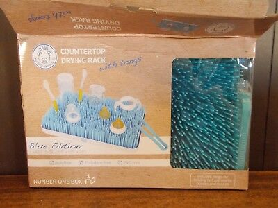 Countertop Drying Rack w/ Tongs Blue Edition Large Size
