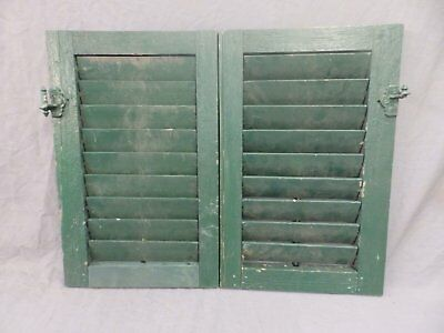 Pair Antique House Window Wood Louvered Shutters 20x13 Shabby Vtg Chic 305-18P