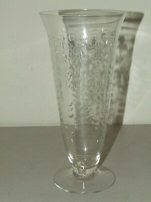 Antique Victorian Hand Blown Clear Glass Footed Vase with Etched Designs 9 1/2""