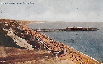 Dorset; Bournemouth, West Cliff & Pier PPC, Unposted, c 1910's, Photochrom