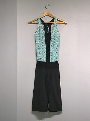 9f4b2498a352 Lululemon Romp Her Jumper Sz 4 One Piece Green Black Polkadot Euc