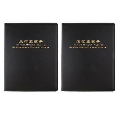 2PCS Paper Money Collection Album Book Banknote Currency 60 Pockets Holder