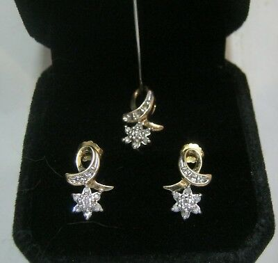 Vintage 10k Yellow Gold Diamond Star Shaped 2 Piece Set  Pendant And Earrings