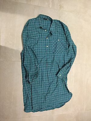 mens plaid,green, flannel  night shirt 70's, new old stock. , large,100% cotton