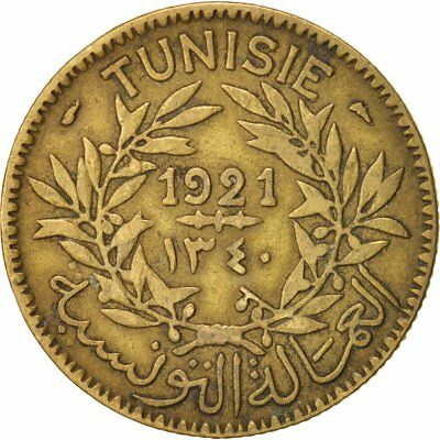 [#15362] Tunisia, Anonymous, 2 Francs, 1921, Paris, EF(40-45), Aluminum-Bronze