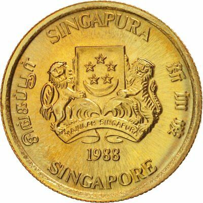 [#18230] Singapore, 5 Cents, 1988, British Royal Mint, MS(64), Aluminum-Bronze