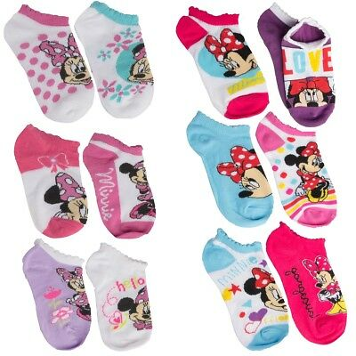 6 Pairs Minnie Mouse Little Girls Socks Disney Character No Show Ankle Toddler