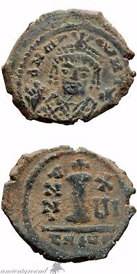 Byzantine Empire Maurice Tiberius Coin Ae Decanummium Antioch Theoupolis Year 16