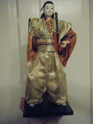 """Chinese Doll Dressed In Silk With Sword Beautiful  11"""" Tall"""