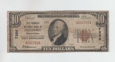 National Banknotes $10 1929-I  Freeport Pennsylvania lower grade