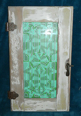 Fabulous Primitive Antique Vintage Cabinet Door With Art In Glass! Signed!