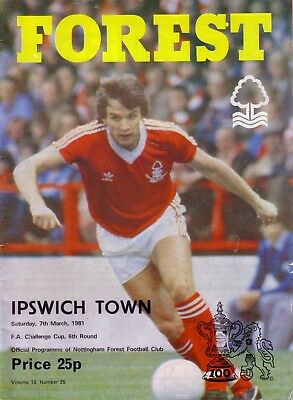 NOTTINGHAM FOREST v IPSWICH 1980/81 FA CUP 6TH ROUND