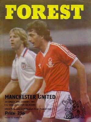 NOTTINGHAM FOREST v MANCHESTER UNITED 1980/81 FA CUP 4TH ROUND