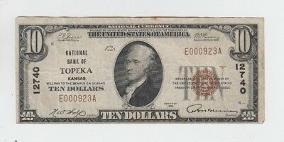 National Banknotes $10 1929-I Topeka Kansas vf minor stain