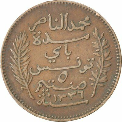 [#32757] TUNISIA, 5 Centimes, 1917, Paris, KM #235, EF(40-45), Bronze, 26, 4.93
