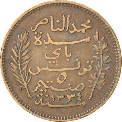 [#32754] TUNISIA, 5 Centimes, 1906, Paris, KM #235, EF(40-45), Bronze, 26, 4.95