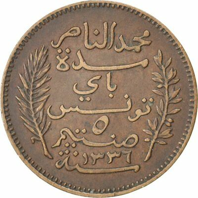 [#32758] TUNISIA, 5 Centimes, 1917, Paris, KM #235, AU(50-53), Bronze, 26, 4.90