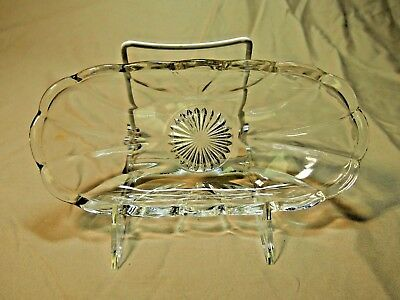 Elegant Vintage Glass Pickle Dish Clear Petals and Sunburst Pattern 8.25""
