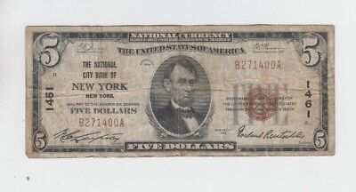 National Banknotes $5 1929-I New York, N.y. charter 1461 low grade
