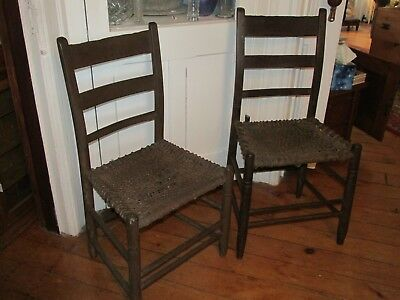 Pair of Antique 18th Century Ladder Back Side Chairs in Old Brown Paint