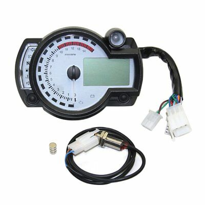 Motorcycle Digital Odometer Adjustable LCD Tachometer Speedometer Universal GT