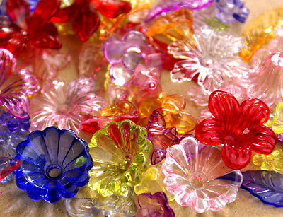 Assorted Plastic Flowers Leaves Mixed Color Acrylic Beads px2 (80pcs)