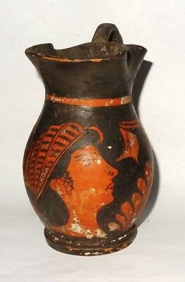 Ancient Greek Apulian Red Figure Oinochoe - 400/300 Bc - Magnia Graecia