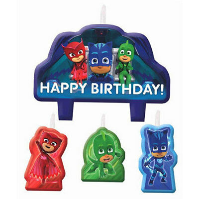 Pj Masks Candle Set Of 4 Birthday Cake Topper Theme Party Supplies
