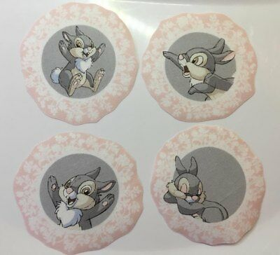 Set of 4 adorable fabric thumper rabbits iron on motifs/patches embellishments
