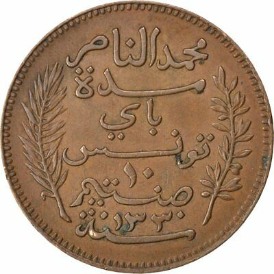 [#41756] TUNISIA, 10 Centimes, 1912, Paris, KM #236, EF(40-45), Bronze, 9.93