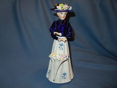 Vintage Ceramic Lady W/pink & Yellow Flowers And Blue/white Dress & Hat