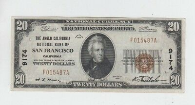 National Currency 1929-I $20  San Francisco California #9174 vf