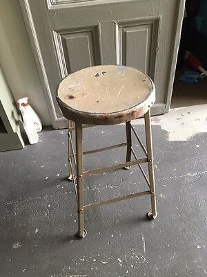 vintage antique industrial chair desk chair stools beige metal  pick up only
