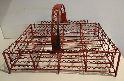 REAL ANTIQUE c1900 FRENCH CAFE WIRE WIREWARE TUMBLER CARRIER OLD PUMPKIN PAINT