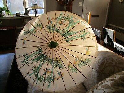 Vintage Japanese Umbrella Rice Paper and Bamboo Double Egret Design with Birds