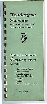 1959 Type Specimen catalog Tradetype Composing Room, BIRMINGHAM ALABAMA