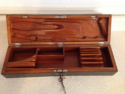 Superb Vintage Hand Carved Locking Wooden Knife And Cutlery Tool Box