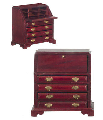 One Filing Desk In Mahogany, Dolls House Miniature Furniture, 1.12 Scale