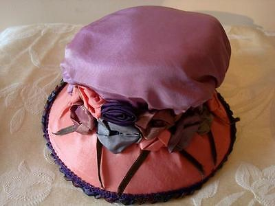 Girl's Vintage 1920's Cloche Child's Hat Peach Lilac Silk Colorful Ribbon Roses