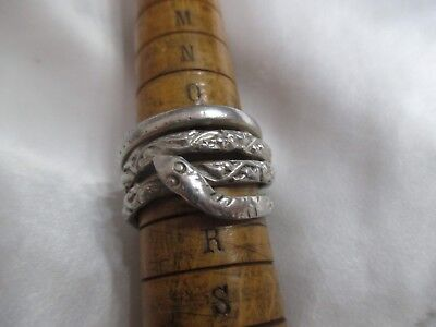 Vintage Silver  Coiled Snake  Ring  Unmarked But Tested
