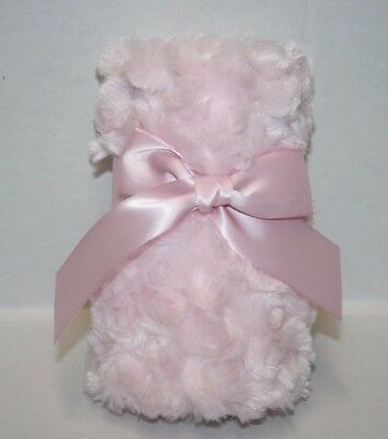 "New Bearington BABY SECURITY BLANKET 16"" PINK SWIRL PLUSH Satin Trim Ruffle Edge"