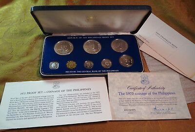 Republic Of The Philippines 1975 Proof Set (Some Silver) - Free S&H USA