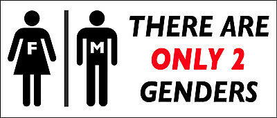 """THERE ARE ONLY 2 GENDERS"" VINYL BUMPER STICKER MAGNET - Republican / Trump"