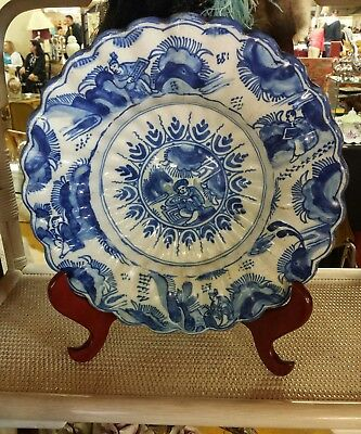 DELFT TIN-GLAZED EARTHENWARE BLUE AND WHITE CHARGER 1680's