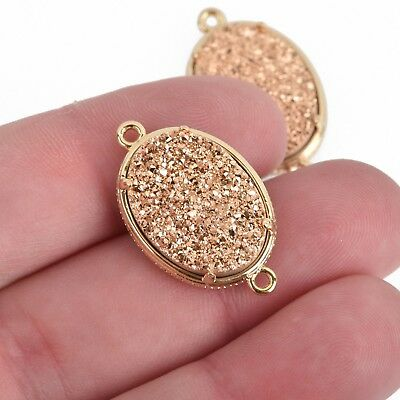 1 Copper Gold Druzy Oval Charm, GOLD bezel connector link, 27x16mm, chs3877