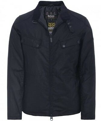 NWT $379 Barbour International Valve wax cotton motorcycle jacket Black Medium