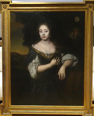 Huge Fine 17th Century English Master Portrait Of A Lady Antique Oil Painting