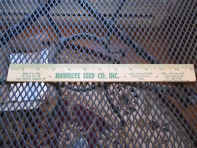 Vintage Hawkeye Seed Co. Inc. Cedar Rapids Iowa Wooden Ruler/ Garden Stick
