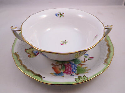 HEREND QUEEN VICTORIA (Green Border) Footed Creamed Soup Bowl & Saucer Set
