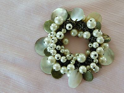 Vintage Faux Pearl & Mop Mother Of Pearl Cha Cha  Chunky Stretch Bracelet   B72